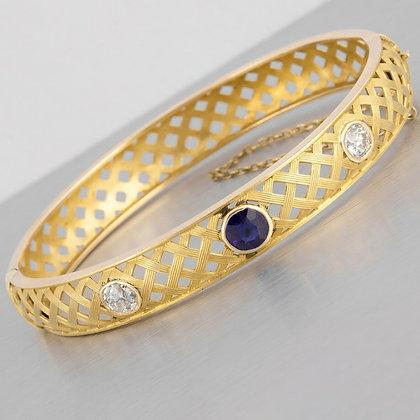 Victorian 14k Yellow Gold Fancy Weave Diamond & Tanzanite Hinged Bangle Bracelet