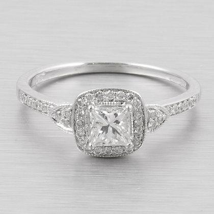 10k White Gold Princess Cut Diamond Halo Engagement Ring 0.62ctw Size 7