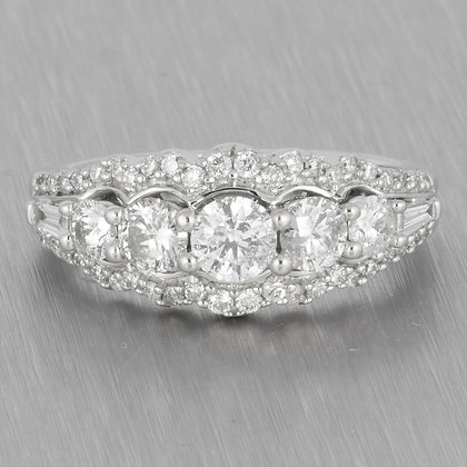 Modern Estate 14k White Gold 5 Stone Diamond Halo Ring 1.15ctw