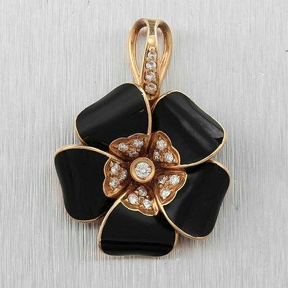 Rosato 18k Rose Gold Diamond Black Enamel Pendant 0.30ctw ITALY