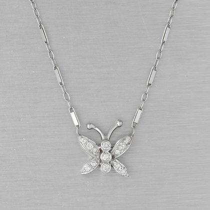 "Estate 14k White Gold Diamond Butterfly Necklace 0.10ctw 16.5"" VINTAGE"