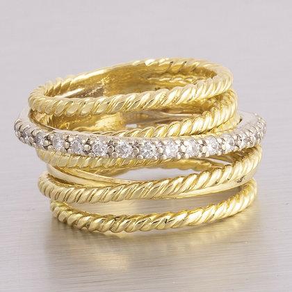 David Yurman 18k Yellow Gold Wide Diamond Cable Crossover Ring 0.18ctw RET $2800