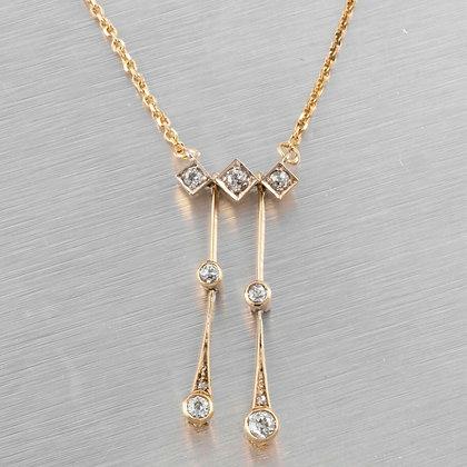 Antique Victorian 14k Yellow Gold Platinum Seven Diamond Dangle Necklace 0.50ctw