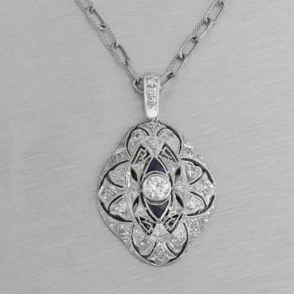 Antique Art Deco Platinum & 14k White Gold Diamond Sapphire Pendant 0.45ctw
