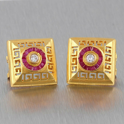 Vintage 22k Yellow Gold 0.25ctw Diamond Ruby Halo Greek Key Square Earrings 14g