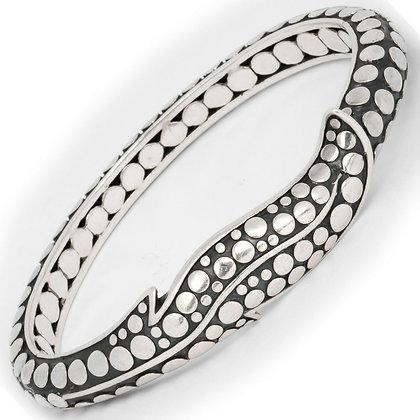 John Hardy Solid 925 Sterling Silver Ayu Dot Hinged Bangle Leaf Bracelet