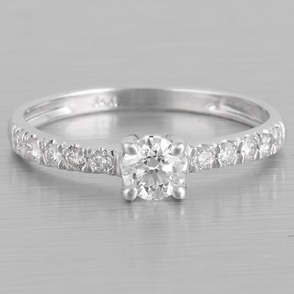 14k White Gold Solitaire Halfway Diamond Engagement Ring 0.51ctw Size 5.75 GIA