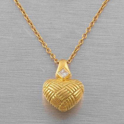 "18k Yellow Gold Princess Diamond Crosshatch Heart Necklace 0.07ct 16"" VINTAGE"