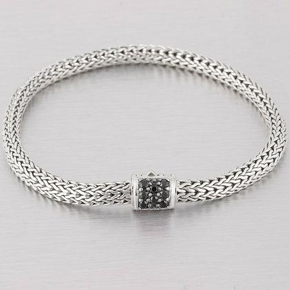 John Hardy Black Diamond 925 Sterling Silver Classic Wheat Chain Bracelet