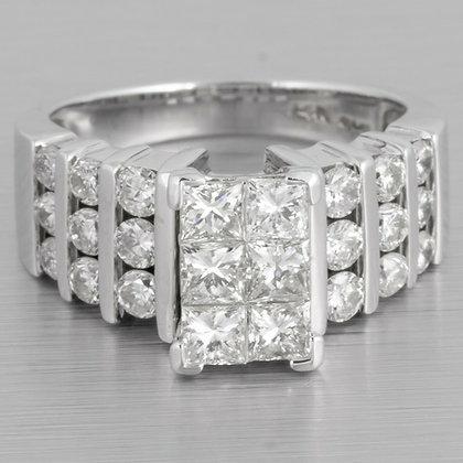 14k White Gold Six Stone Princess Cut Diamond Ring w/ accents 1.92ctw size 7