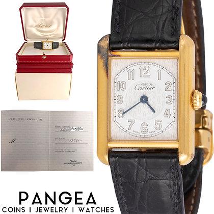 RARE Must de Cartier Tank Ref 2415 18k Gold Vermeil White Arabic Dial BOX PAPERS