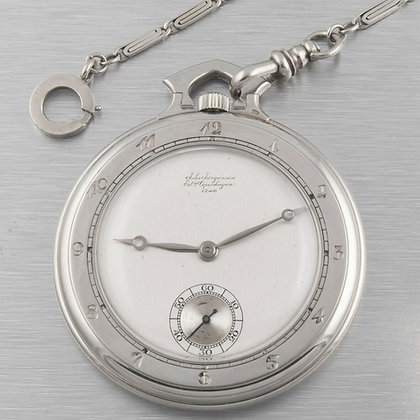 Jules J?�rgensen Jurgensen 18k White Gold Open Face Pocket Watch 17241 w/ Chain