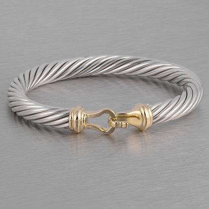 David Yurman 925 Silver & 14k Gold Cable Classic Buckle Bracelet 7mm MEDIUM