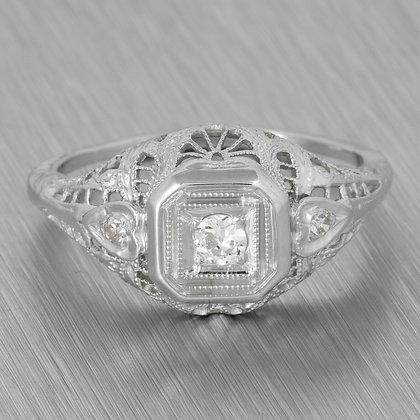 Antique Art Deco 18k White Gold 3 Stone Domed Filigree Ring 0.35ctw Size 5.75