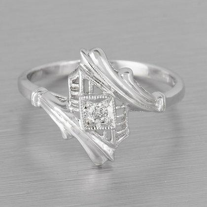 14k White Gold Diamond Milgrain Wavy Solitaire Ring 0.05ct Size 6