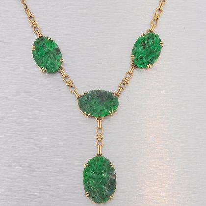 Vintage Estate 14K Gold & Dark Green Carved Spinach Jade Lavalier Y Necklace