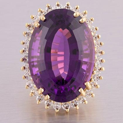 Vintage Estate 14k Yellow Gold 32ct Oval Amethyst Diamond Halo Ring 1.01ctw