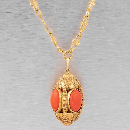 "Antique Victorian Etruscan Revival 18k Yellow Gold Coral Pendant Necklace 36.5"""