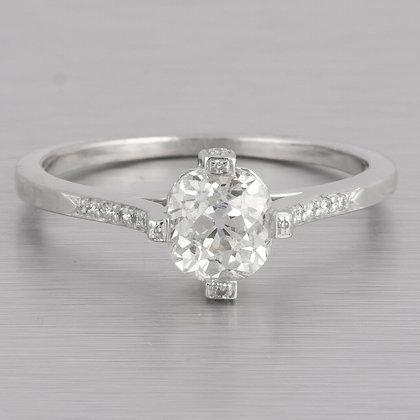 Antique Estate Art Deco Platinum Old Mine Cut Diamond Ring 1.05ctw Size 6