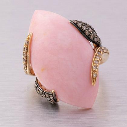 Ambrosi 18k Rose Gold, Cabochon Rose Quartz & 0.60ctw Chocolate Diamond Ring
