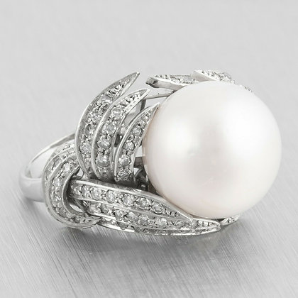 Antique Art Deco Platinum 15mm Pearl Diamond Nestled Egg Ring 0.90ctw Size 6
