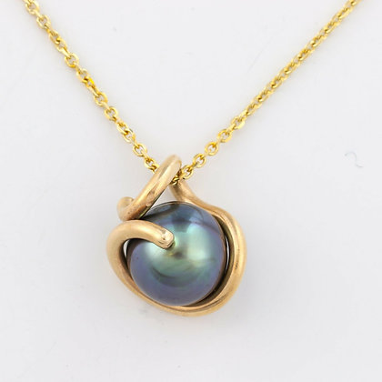 Vintage 14k Yellow Gold 11mm Tahitian Pearl Wound  Drop Pendant