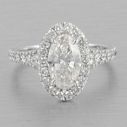 14k White Gold Oval Diamond Halo Bridal Engagement Ring 2.00ctw sz 4.75