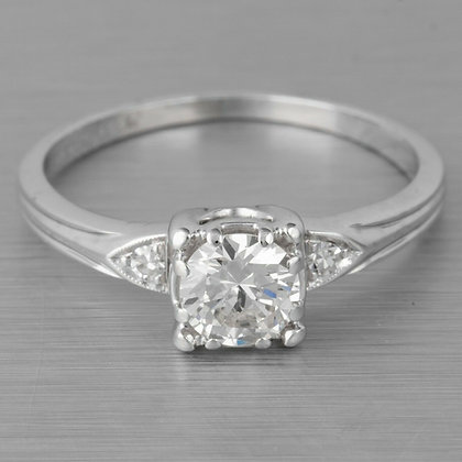 Modern Estate Platinum 900 G-H VS1 Diamond Engagement Ring 0.55ctw EGL $4,710