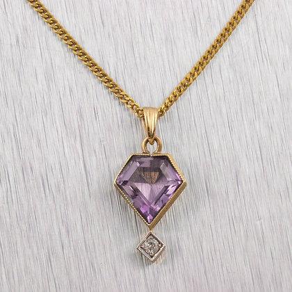 "Antique 14k White & Yellow Gold Amethyst Dangling Diamond Pendant Necklace 18"""