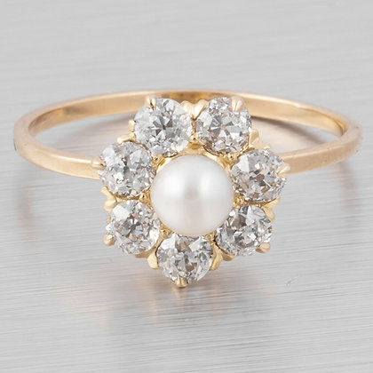Antique Victorian 14k Yellow Gold 7 St. Old Mine Diamond & Pearl Ring 0.63ctw