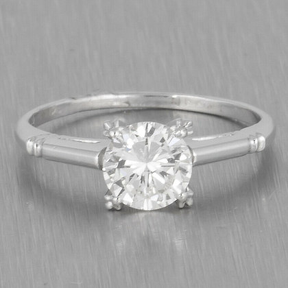 Modern Estate 14k White Gold Solitaire Diamond Engagement Ring 0.68ct Size 4