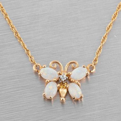"Vintage 14k Yellow Gold Diamond Opal Butterfly Pendant Necklace 0.01ctw 17.5"""