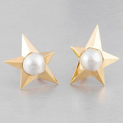 Pedro Boregaard 18k Yellow Gold Pearl Moon & Star Clip-on Earrings RETAIL $9,900