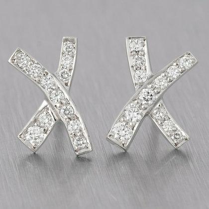 "Tiffany & Co. Paloma Picasso ""X"" Kiss Platinum 950 Diamond Earrings 0.20ctw MINI"