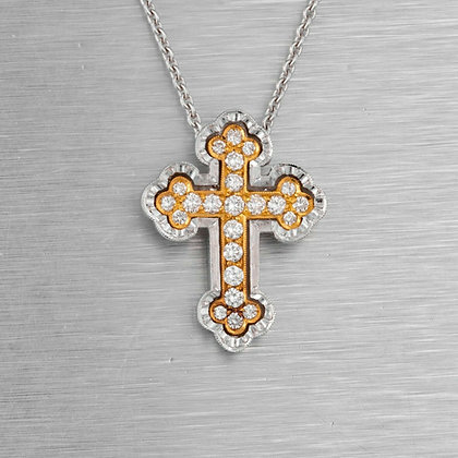 "18k White & Yellow Gold Diamond Cross Two Tone Pendant Necklace 20"" 0.30ctw"