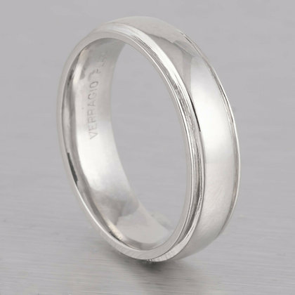 Verragio Platinum 5mm Grooved Edge Wedding Band Ring Size 6.25 - 8.1 grams