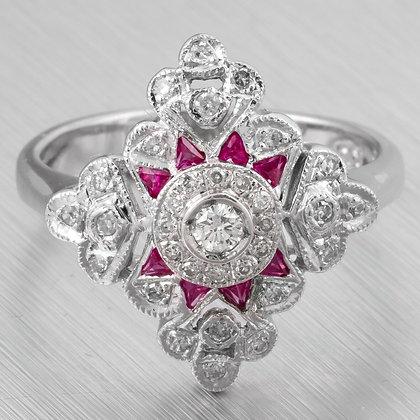 Samuel Benham BJC 14k White Gold Diamond Ruby Art Deco Style Ring 0.45ctw Size 6