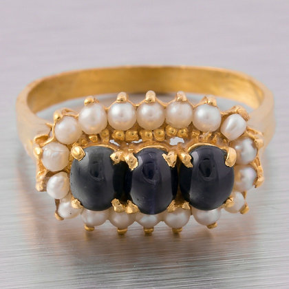 Antique Estate 22k Yellow Gold Cabochon Sapphire Pearl Halo Ring Size 7.75