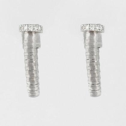 Yvel 18k White Gold Diamond Coiled Wire Wrap Huggie Earrings 0.10ctw 5 grams