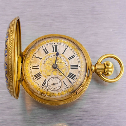 Henri Grandjean & Cie 18k Yellow Gold Floral Motif Diamond Hunter Watch 36963