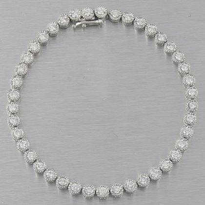"14k White Gold 42 st. Diamond 4.30mm Tennis Bracelet 4.20ctw F VS2-SI1 - 7.5"""