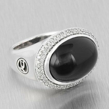 David Yurman 925 Sterling Silver Cabochon Onyx Diamond Halo Signature Ring Sz6.5