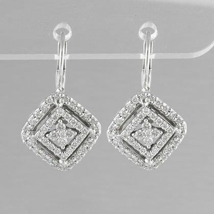 14k White Gold Diamond Tiered Basket Leverback Drop Earrings 1.01ctw G VS2