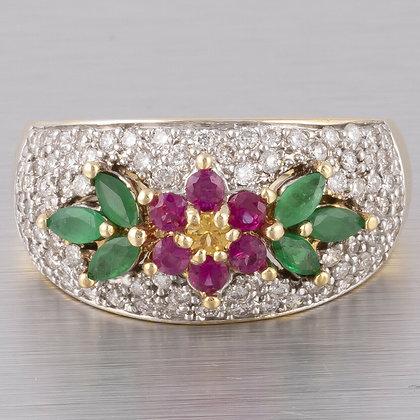 Vintage 14k Yellow Gold Pave Diamond Ruby Emerald Citrine Flower Ring 1.00ctw