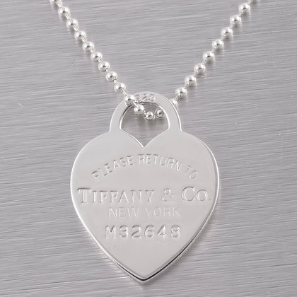Tiffany & Co. 925 Sterling Silver Return to Tiffany Heart Tag Ball Bead Necklace