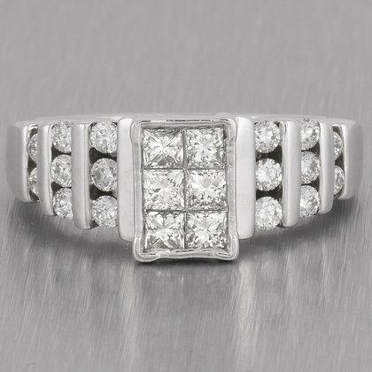14k White Gold Six Stone Princess Cut Diamond Ring w/ accents 1.00ctw size 7.5
