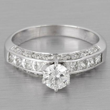 18k White Gold Three Section Diamond Engagement Ring 1.28ctw EGL RETAIL: $5,750