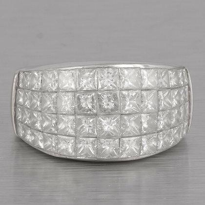 18k White Gold Four Row Graduated Princess Cut Diamond Band 5.60ctw Ring sz 6.5