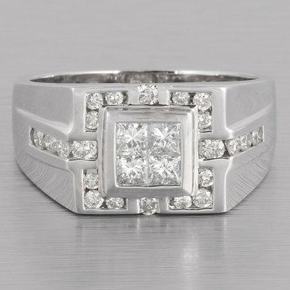 18k White Gold Four Stone Princess Cut Diamond Ring w/ accents 0.82ctw size 9.25