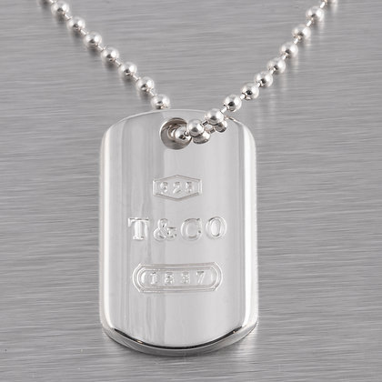 """Tiffany & Co. 925 Sterling Silver 1837 Dog Tag Pendant Ball Bead Necklace 34"""""""
